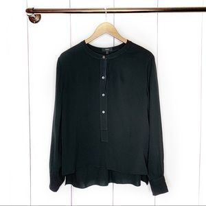 THEORY Silk Popover Blouse Solid Black